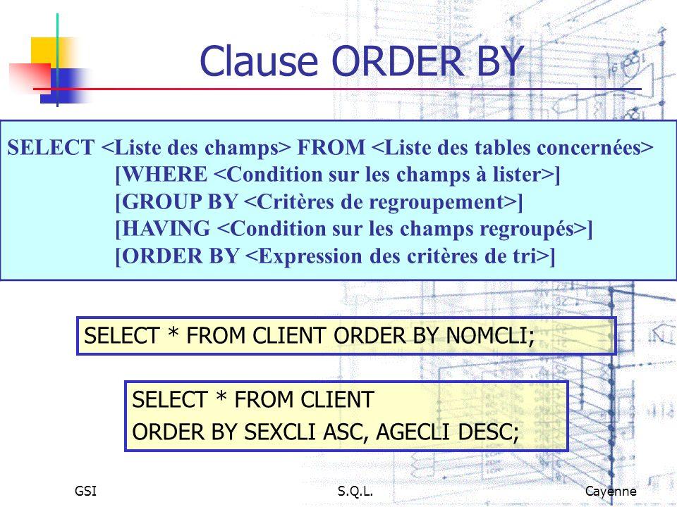 Clause ORDER BY SELECT <Liste des champs> FROM <Liste des tables concernées> [WHERE <Condition sur les champs à lister>]